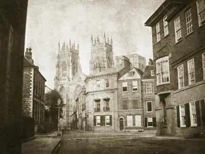 West Front, York Minster, from Lendall Street, 1845 (B/W Photo)