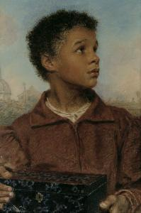 A Negro Boy holding a Casket by William Henry Hunt