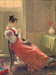 Lady Sewing, C.1830 by William Henry Hunt