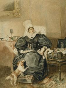 Portrait of a Lady by a Table with a Dog by William Henry Hunt