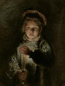 Young Boy Holding a Candle by William Henry Hunt