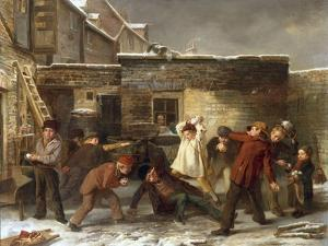 Boys Snowballing, 1853 by William Henry Knight