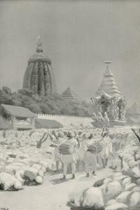 Worshippers Prostrating Themeselves before the Famous Car at the Festival of Jagannath by William Henry Margetson