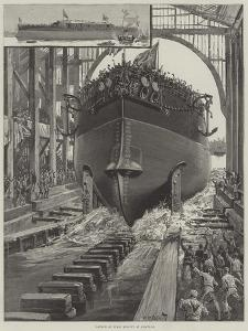 Launch of HMS Rodney at Chatham by William Heysham Overend