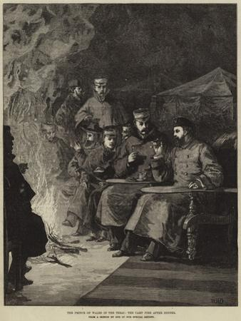 The Prince of Wales in the Terai, the Camp Fire after Dinner by William Heysham Overend
