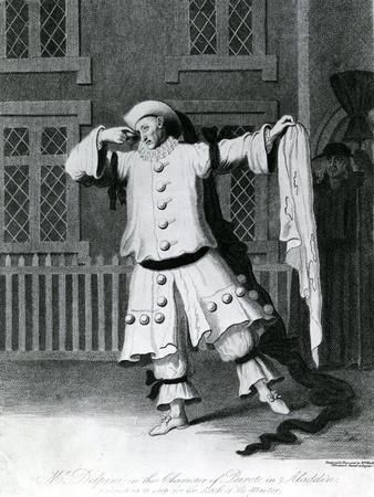 Mr Delphini in the Character of Pierot in Aladdin, 1780-1790