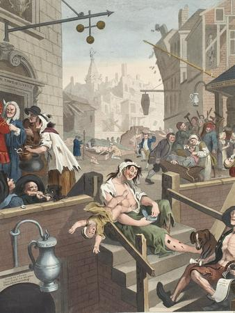 Gin Lane, Illustration from 'Hogarth Restored: the Whole Works of the Celebrated William Hogarth,…