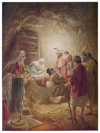 The Shepherds Come to See Mary Joseph and Their Baby Jesus by William Hole