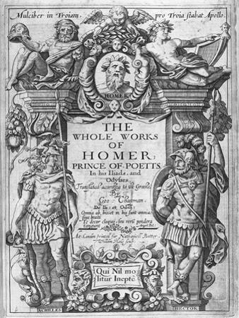 Titlepage to 'The Whole Works of Homer' Translated by George Chapman, Published in 1614-16 by William Hole