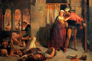 Eve of Saint Agnes; Flight of Madeleine and Porphyro During the Drunkenness Attending the Revelry by William Holman Hunt