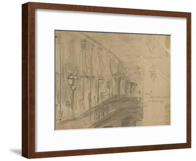 Recto: Study of London Bridge for 'London Bridge on the Night of the Marriage of the Prince and Pri