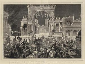 The Illuminations at Calcutta During the Visit of the Prince of Wales, the Crowd in the Streets by William John Hennessy