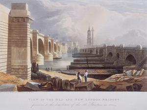 London Bridge (Old and New), London, 1832 by William Knight
