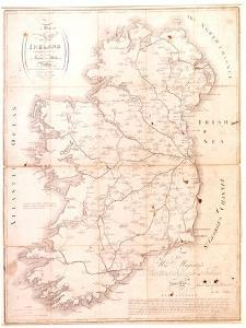 A Map of the Mail Coach Branching Cross and Bye Post Roads of Ireland, Engraved by S. Kerling by William Larkin