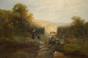 Shepherdess with Sheep by William Linnell