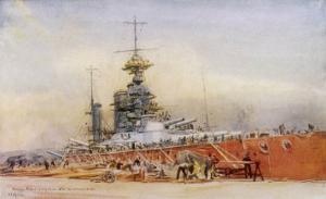 """After the Battle of Jutland Hms """"Princess Royal"""" Undergoes Repairs in a Dry Dock by William Lionel Wyllie"""