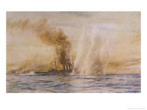 """At the Battle of Jutland Hms """"Southampton"""" Sails Under Fire from the German Fleet by William Lionel Wyllie"""
