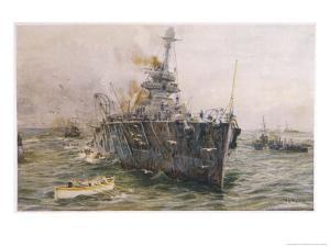 Audacious' One of the Most Powerful Members of the Allied Fleet is Sunk by a German Mine by William Lionel Wyllie