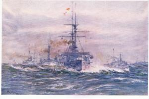 Battleships of the White Era at Sea, 1915 by William Lionel Wyllie
