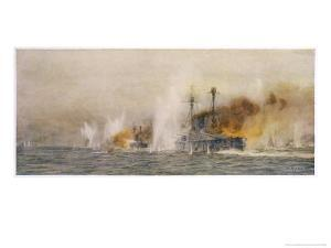 """British Ships """"Defence"""" and """"Warrior"""" in Action at the Battle of Jutland by William Lionel Wyllie"""