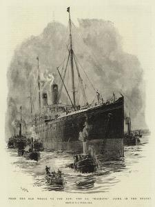 From the Old World to the New, the S S Majestic Lying in the Mersey by William Lionel Wyllie