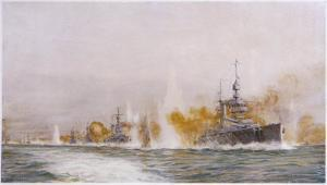 """Hms """"Lion"""" Leads the Battle- Cruisers into the Fray at the Battle of Jutland by William Lionel Wyllie"""