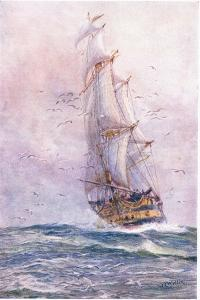 The 'Foudroyant', One of Nelson's Old Ships, 1915 by William Lionel Wyllie