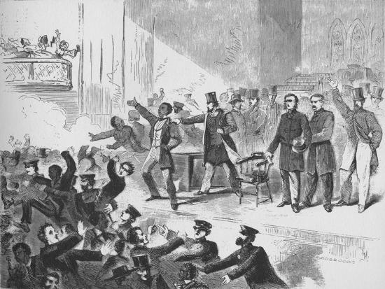 'William Lloyd Garrison trying to hold a John Brown anniversary meeting in Tremont Temple, Boston'-Unknown-Giclee Print
