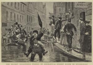 The Recent Disastrous Floods in Germany, a Street Scene in Dusseldorf by William Lockhart Bogle