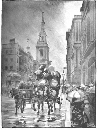 'Cheapside - A Rainy Day', 1891