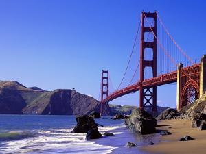 Beach and Golden Gate Bridge by William Manning