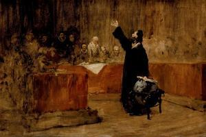 Sketch for Columbus before the Council of Salamanca, C.1876 by William Merritt Chase
