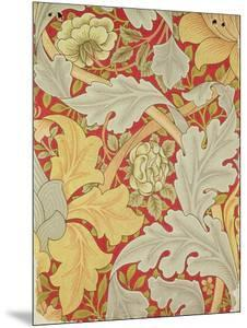 Acanthus Leaves and Wild Rose on a Crimson Background, Wallpaper Design by William Morris