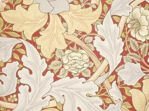 Acanthus Leaves, Wild Rose on Crimson Background, William, Morris by William Morris