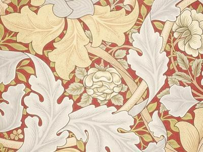 Acanthus Leaves, Wild Rose on Crimson Background, William, Morris by William Morris