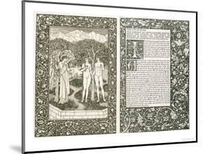 """Adam and Eve, from """"The Works of Chaucer,"""" Published by Kelmscott Press, 1896 by William Morris"""
