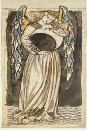 An Angel Holding a Waning Moon