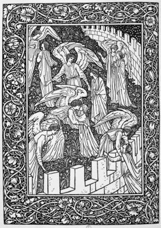Angels Behind the Inner Sanctuary, from The Kelmscott Chaucer, Published by Kelmscott Press, 1896 by William Morris