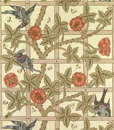 Blue and Orange Trellis Wallpaper Design, 1864 by William Morris