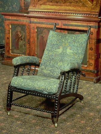 """Chair by William Morris, Upholstered in Original """"Bird"""" Woollen Tapestry, circa 1870 by William Morris"""