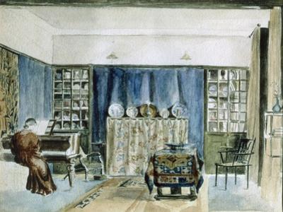 Interior of Kelmscott Manor (W/C on Paper) by William Morris