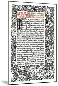 'Kelmscott Press: Page printed in the Golden Type', c.1895, (1914) by William Morris