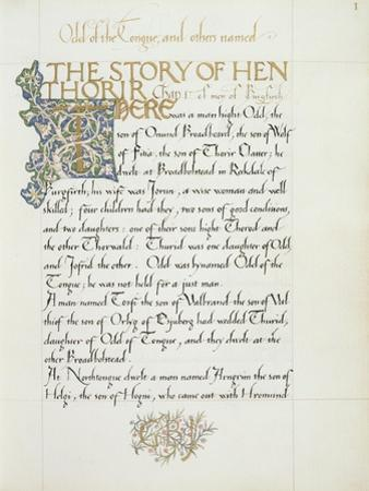 Ms 270* F.1R the Story of Hen Thorir, C.1873-4 by William Morris