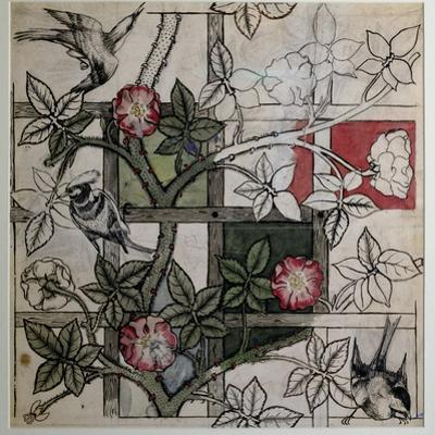 Original Artwork for 'Trellis' Wallpaper Design, 1862 (W/C on Paper) by William Morris