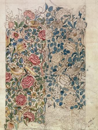 Rose' Wallpaper Design (Pencil and W/C on Paper) by William Morris