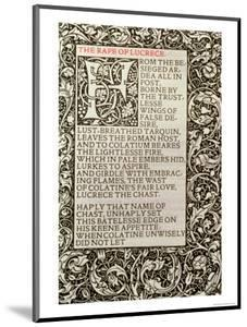 """The Rape of Lucrece, from """"The Poems of William Shakespeare"""" Published by Kelmscott Press, 1893 by William Morris"""