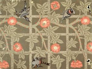 Trellis Wallpaper Design with a Bottle Green Background, 1864 by William Morris