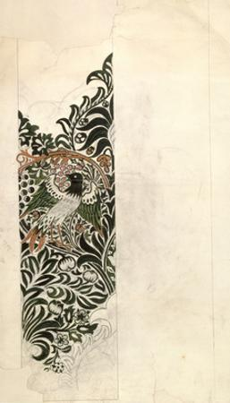 Unfinished 'Bird and Vine' Wood Block Design for Wallpaper, 1878 (Pencil and W/C on Paper) by William Morris