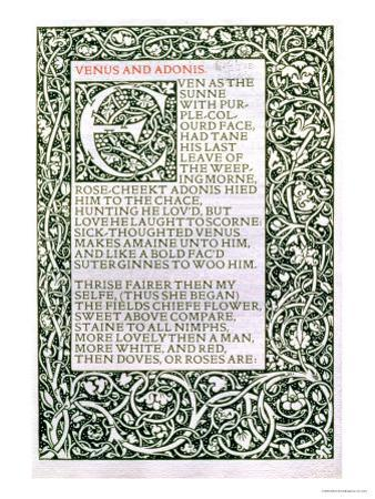 """Venus and Adonis, from """"The Poems of William Shakespeare"""" Published by Kelmscott Press, 1893 by William Morris"""