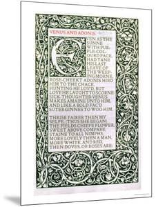 "Venus and Adonis, from ""The Poems of William Shakespeare"" Published by Kelmscott Press, 1893 by William Morris"